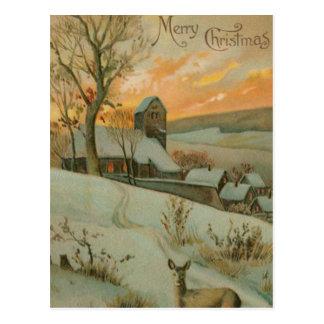 Granja del navidad del vintage con los ciervos postal