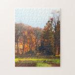 Granja del otoño con la grada puzzles con fotos