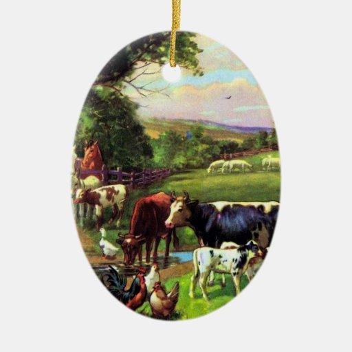 Granja del vintage adorno navideño ovalado de cerámica