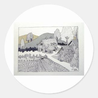 Granja en Vermont por Piliero Etiqueta Redonda