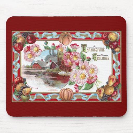 Granja, fruta y acción de gracias rosada de las mo alfombrillas de ratones