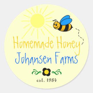 Granja hecha en casa de la abeja de la miel pegatinas redondas