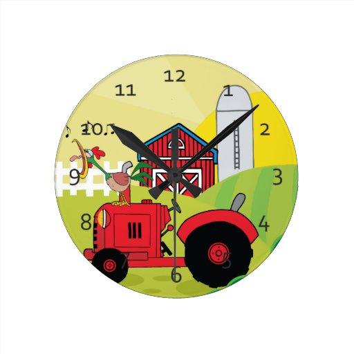 Granja linda del dibujo animado reloj redondo mediano