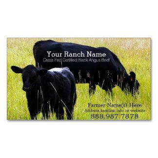 Granja negra del rancho de ganado de la carne de tarjetas de visita magnéticas (paquete de 25)