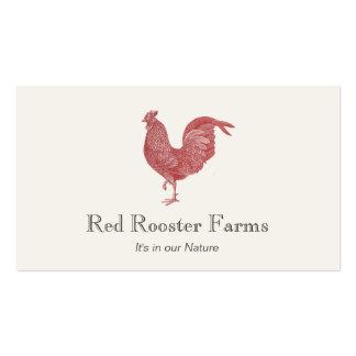 Granja roja del gallo del vintage para presentar tarjetas de visita