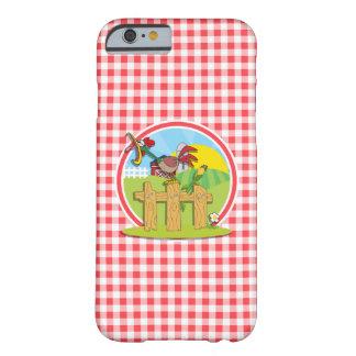 Granja Rootster; Guinga roja y blanca Funda De iPhone 6 Barely There