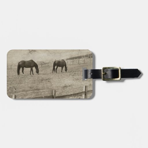 Granja rústica del caballo etiquetas maletas