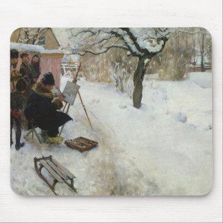 Granja sueca en invierno alfombrilla de ratones