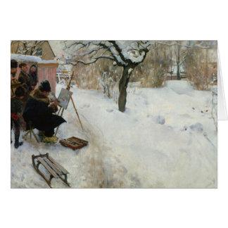 Granja sueca en invierno tarjeta
