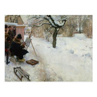 Granja sueca en invierno tarjetas postales