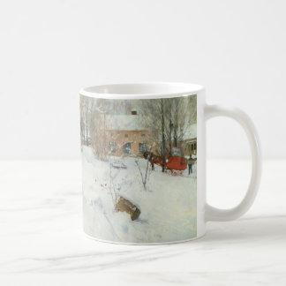 Granja sueca en invierno taza