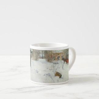 Granja sueca en invierno taza espresso