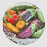 Granja - verduras frescas etiqueta redonda