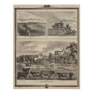 Granja, viñedo y residencias en el condado de Ceda Póster