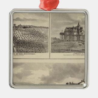 Granja, viñedo y residencias en el condado de adorno cuadrado plateado