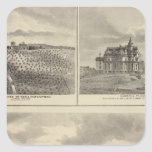 Granja, viñedo y residencias en el condado de pegatina cuadrada