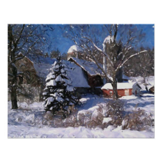Granja y granero rojo en la impresión del invierno posters