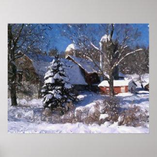 Granja y granero rojo en la impresión del invierno póster