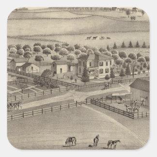 Granja y residencia comunes Benton Tp del remolin Calcomanía Cuadradas