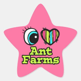 Granjas brillantes de la hormiga del amor del calcomanias forma de estrella