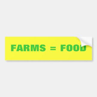 Granjas = comida etiqueta de parachoque