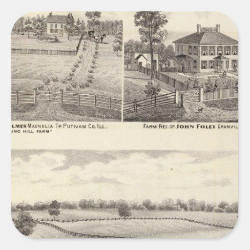 Granjas y residencias en magnolia pegatina cuadrada