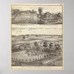 Granjas y residencias en magnolia póster