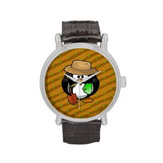 Granjero adorable del pingüino del dibujo animado relojes