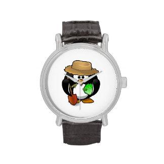 Granjero adorable del pingüino del dibujo animado relojes de mano