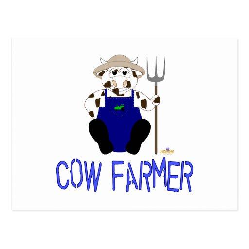 Granjero azul de la vaca de Brown y de la vaca bla Postales