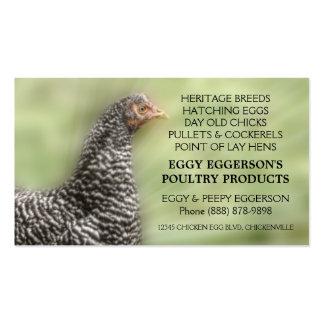 Granjero barrado del huevo del pollo de la roca tarjetas de negocios