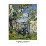 Granjero con las carretillas, por Camille Pissarro Postales