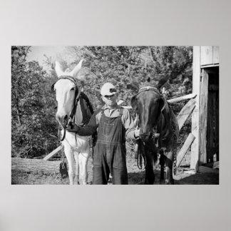 Granjero con los caballos de paleta, los años 30 póster