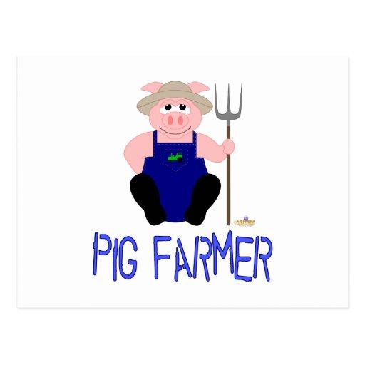 Granjero de cerdo azul del cerdo rosado del granje tarjeta postal