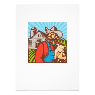Granjero de cerdo que sostiene el granero del coch anuncios