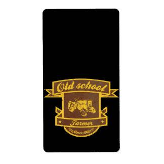 Granjero de la escuela vieja etiqueta de envío