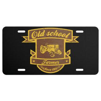 Granjero de la escuela vieja placa de matrícula