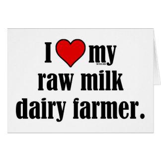 Granjero de la leche cruda del corazón tarjeta de felicitación