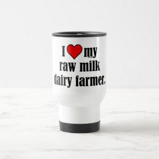 Granjero de la leche cruda del corazón tazas de café