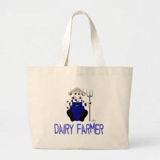 Granjero de lechería azul de Brown y de la vaca bl Bolsa Tela Grande