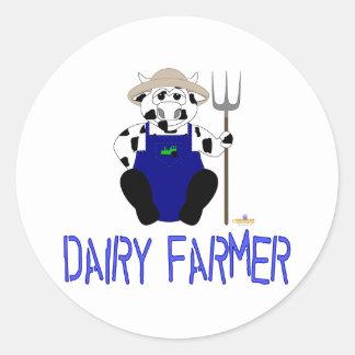 Granjero de lechería azul de la vaca blanco y etiqueta redonda