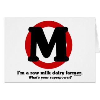 Granjero de lechería de la leche cruda tarjeta de felicitación