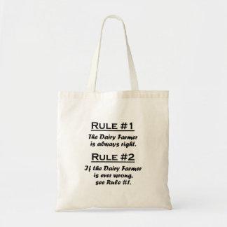 Granjero de lechería de la regla bolsa tela barata
