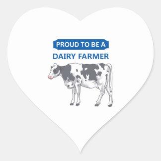 Granjero de lechería orgulloso pegatina de corazon personalizadas