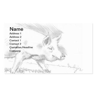 Granjero del bosquejo del dibujo de lápiz del cerd plantilla de tarjeta de negocio
