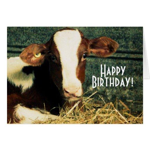 Granjero del feliz cumpleaños - Brown y becerro bl Felicitacion