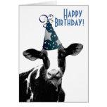 Granjero del feliz cumpleaños - vaca del gorra del tarjeton