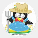 Granjero del pingüino etiquetas redondas