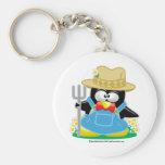 Granjero del pingüino llavero personalizado