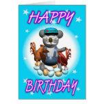Granjero del pollo de la koala del dibujo animado tarjeta de felicitación